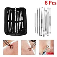 8 Pcs Stainless Steel Blackhead Remover Tool Kit Professional Blackhead Acne Comedone Pimple Blemish Extractor Beauty Tool (with bag)