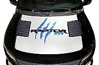 2010–2014フォードF - 150ラプターSVT Raptorフードラップグラフィックキット3Mビニールデカールラップ–マットホワイトベースwithメタリックコバルトTears