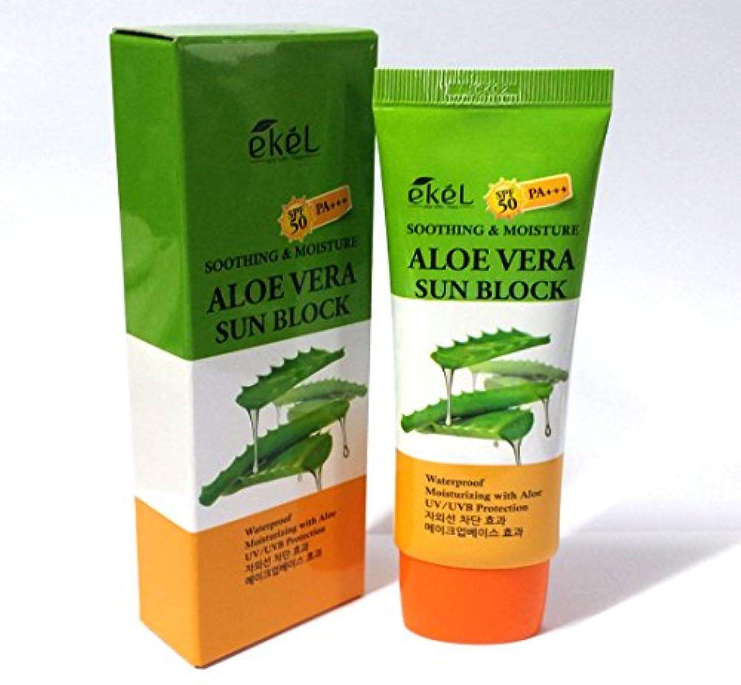 起こりやすいええ処理[Ekel] UVスムージング&モイスチャーアロエベラサンブロックSPF 50 PA +++ 70ml / UV Soothing & Moisture Aloe Vera Sun Block SPF 50 PA +++...