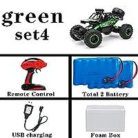 子供のためのバージョン2.4GラジオコントロールRCカーのおもちゃバギー2017ハイスピードトラックオフロードトラックのおもちゃを更新しました午前1時12枚の4WD RCカー (Color : 37cm green 2 battery)