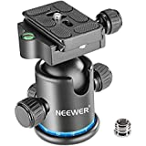 Neewer Pro Metal Tripod Ball Head 360 Degree Rotating Panoramic with 1/4 inch Quick Shoe Plate, Bubble Level for Tripod,Monopod,Slider,DSLR Camera Camcorder up to 17.6 pounds/8 kilograms (Black+Blue)