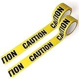 CAUTION 注意 バリケードテープ 非粘着 幅約5cm×50m巻き 2巻セット テープ ビニール製 雑貨