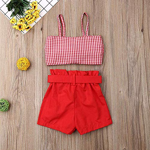 MAFAGE 2PCS Short Set Toddler Baby Girl Halter Outfits Set Bowknot Crop Top Short Pant Summer Clothes Set (2-3 T, Red)