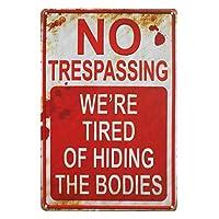 ウォールサイン アート看板 メタルウォールステッカー メタルレトロクリエイティブのウォールサイン バー、クラブ、カフェ、ガレージなどの装飾的な壁に適していますー No Trespassing ー 立ち入り禁止 (レッド)
