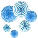 Prettyia 6個/セット 紙扇子 扇子 ラブリー 紙/合金製 風車形 ウェディング パーティー 装飾 うちわ 装飾品  全4種類 - 青