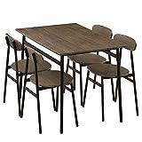 ダイニングテーブル 5点セット 4人用 テーブル チェア4脚 食卓 110×70cm 木目調 おしゃれ ウォールナット