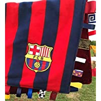 FC Barcelona ~ Striped Baby Blanket with Ribbon Tabs by Abuela Chachy's