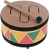 HOMYL Wooden Round Three Tone Drum w/Mallet Percussion Instrument Baby Child Developmental Education Toy