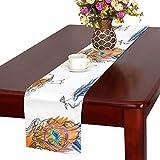 GGSXD テーブルランナー 優雅なクジャク クロス 食卓カバー 麻綿製 欧米 おしゃれ 16 Inch X 72 Inch (40cm X 182cm) キッチン ダイニング ホーム デコレーション モダン リビング 洗える