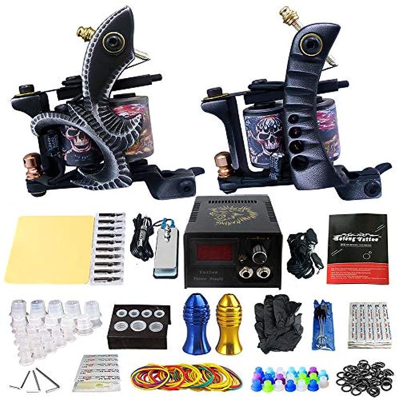 クラックポット不適直感タトゥーマシンメイクアップキットタトゥーマシンセットツールバッグ電源20針グリップアーティストタトゥー用品TK202-25