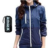 AthleX(アスレエックス) レディース ウインドブレーカー 女性 マウンテンパーカー ウィメンズ ナイロンジャケット 軽量 UV対策 ウィンドブレーカー ブルゾン ランニング ジョギング (ディープブルー, XL)