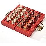 Amyove 32ピース テラコッタ?ウォリアーズ チェス イミテーション古代木製チェスボード 中国アーミースタイル インターナショナルチェス LEENA-181219-1260