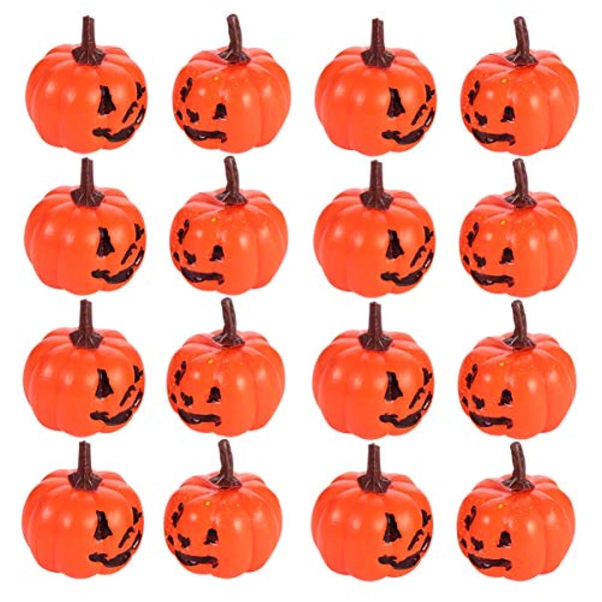 スーツにじみ出る提供Amosfun 16ピースハロウィンかぼちゃ小道具小さな人工ジャックoランタンカボチャの装飾品ハロウィン秋秋収穫装飾