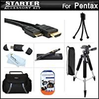 スターターアクセサリーキットfor Pentax K - 5IIs、Pentax K - 5II、Pentax K - 5デジタルSLRカメラIncludes Deluxe Carrying Case + 57三脚W / Case + Mini HDMIケーブル+ USB 2.0カードリーダー+ LCDスクリーンプロテクター+ミニ卓上三脚+マイクロファイバークリーニングクロス