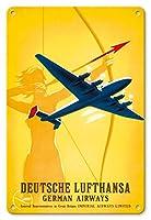 22cm x 30cmヴィンテージハワイアンティンサイン - ルフトハンザドイツ航空 - 女性射手 - ビンテージな航空会社のポスター によって作成された ウィリー・ハンケ c.1939