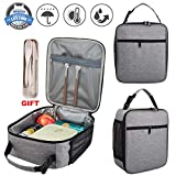 Durable Lunch Bag with Sturdy Zipper, Insulated School Lunch Bag with flatware Leakproof Lunch Tote Bag Water-resistant Lunch Box Lunch Cooler Bag for Adult, Kids, Gift for Women Girls Boys