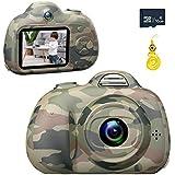 キッズデジタルカメラ2インチスクリーンフロントとリアのSelfie 8MP HDボーイショックプルーフカメラ付きシリコンソフトカバー&16GマイクロSDカード
