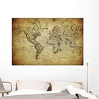 """ヴィンテージマップ世界1814壁壁画by Wallmonkeys Peel and Stickグラフィックwm234967 60""""W x 40""""H - Jumbo GEN-13409-60"""