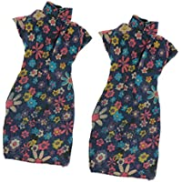 SONONIA 2個入り 優雅 花柄 半袖 チャイナドレス パーティー ドレス 服 バービー人形適用
