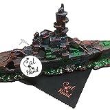 (キャット ハンド) Cat Hand アクアリウム 装飾 オーナメント オブジェ 魚 の 隠れ家 水槽 内 演出 用 クリーニングクロス 付 (ミリタリー(戦艦))