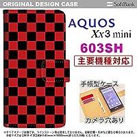 手帳型 ケース 603sh スマホ カバー AQUOS Xx3 mini アクオス スクエア 黒×赤 nk-004s-603sh-dr763