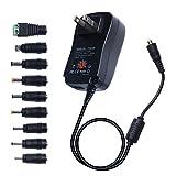 DuaFire スイッチング ACアダプター AC to DC コンバータ 変換器 交流から直流に変換 直流安定化電源 DCプラグコネクタ9個付き 充電器 小型 USB付き 出力電圧3V/4.5V/5V/6V/7.5V/9V/12V 調整可能 (30W)