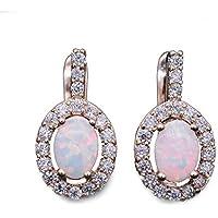 JINY Jewelry New Fire Opal Gemstone Birthstone Oval Leverback Hoop Earrings