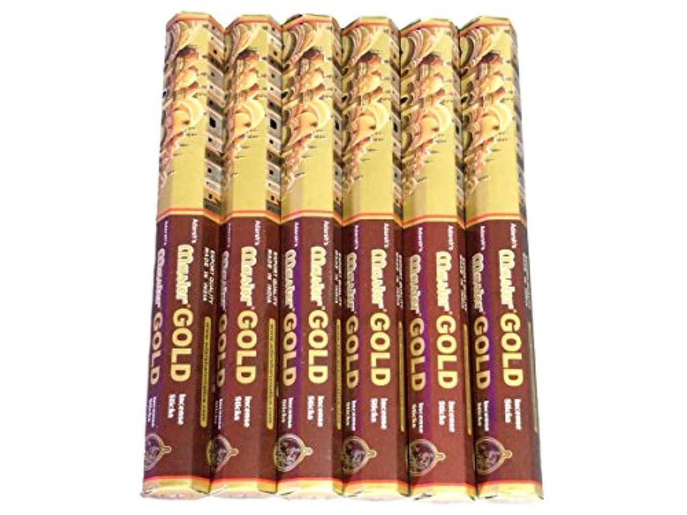 ランチョンキルス懐疑論ADARSH AROMATICS(アダーシュアロマティクス) マスターゴールド香 スティック MASTER GOLD 6箱セット