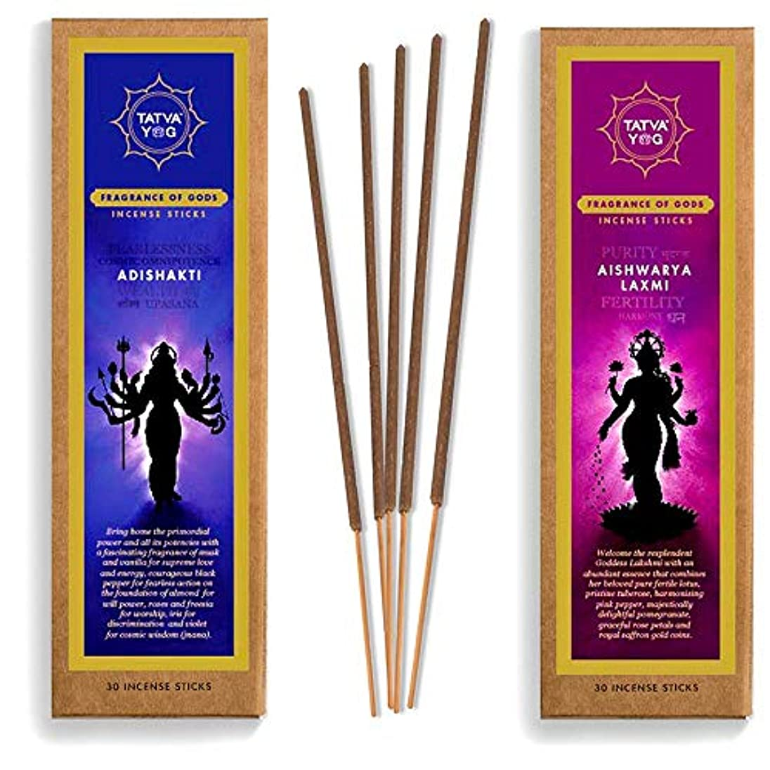 化学者クリームヒステリックTatva YOG Adishakti and Aishwarya Lakshmi Handcrafted Natural Masala Incense Sticks for Daily Pooja Festive Office...