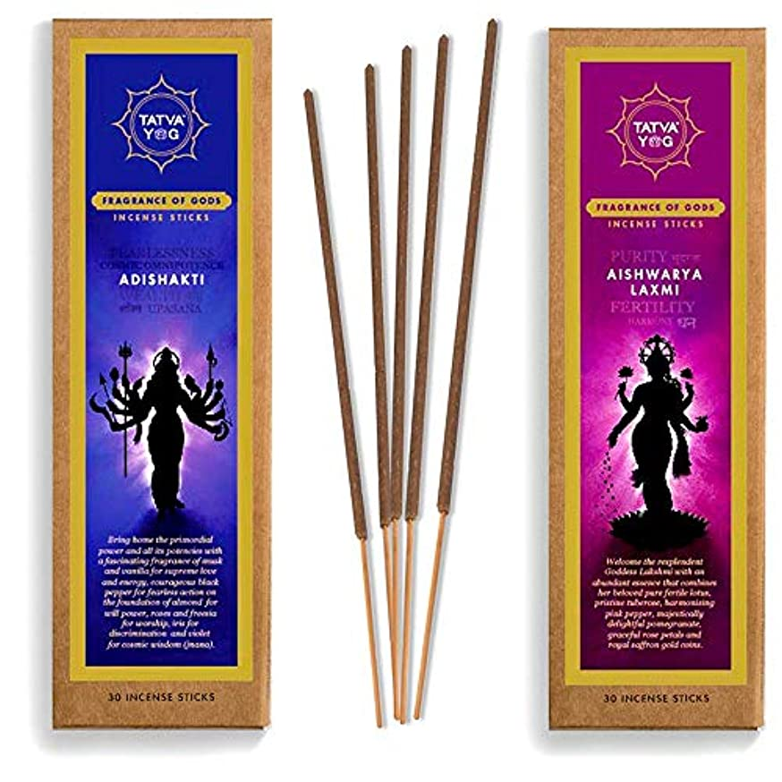 麺配送セイはさておきTatva YOG Adishakti and Aishwarya Lakshmi Handcrafted Natural Masala Incense Sticks for Daily Pooja|Festive|Office...