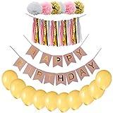 ノーブランド品 誕生日 パーティー小物 飾り 風船 バナー タッセル 造花 セット 全5色 - ピンク
