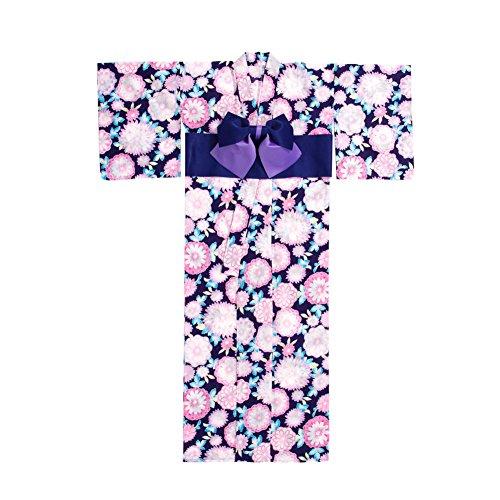 [ニューリミー] Newlyme 丸菊柄 花毬柄 高級 平織り 浴衣 帯 2点セット F 丸菊ネイビー レディース