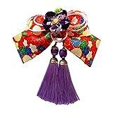 Smile髪飾り リボン 花 クリップ 和装小物 着物 ヘアアクセサリー 卒業式 結婚式 花火大会 袴 浴衣  (パープル)
