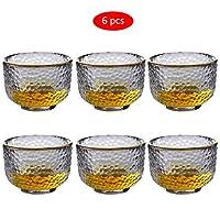 Amycute 日本酒グラス 酒器 冷酒グラス 酒盃 ミニグラス シンプル ハンマーテクスチャー 無鉛グラス 90ml クリア ショットグラス 6個セット (Bゴールデンエッジタイプ)