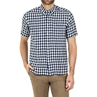 Blazer Men's Tristan Short Sleeve Linen Shirt, Navy-White