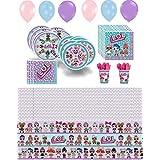 Lol Party Supplies 女の子のバースデーデコレーション カップ、プレート、ナプキン、バルーン、テーブルカバー 誕生日カードセット マルチカラー 305910