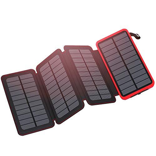FEELLE ソーラーチャージャー 20000mAh 2USB出力ポート モバイルバッテリー ソーラー IP65防水 パワーバンク iPhone, iPad, Samsung, Androidと対応