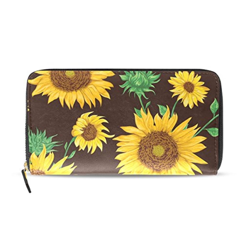 ユサキ(USAKI) 長財布 レディース 大容量 革 レザー ひまわり 花柄 イエロー ラウンドファスナー おしゃれ コインケース 誕生日 プレゼント