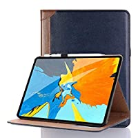iPad ケース Pro 11 耐衝撃 INorton 11 inch 2018年 iPad 保護カバー スタンド Apple Pencil収納 手帳型 11 インチ pro 本革ケース 軽量薄型 滑り止め加工 カード収納