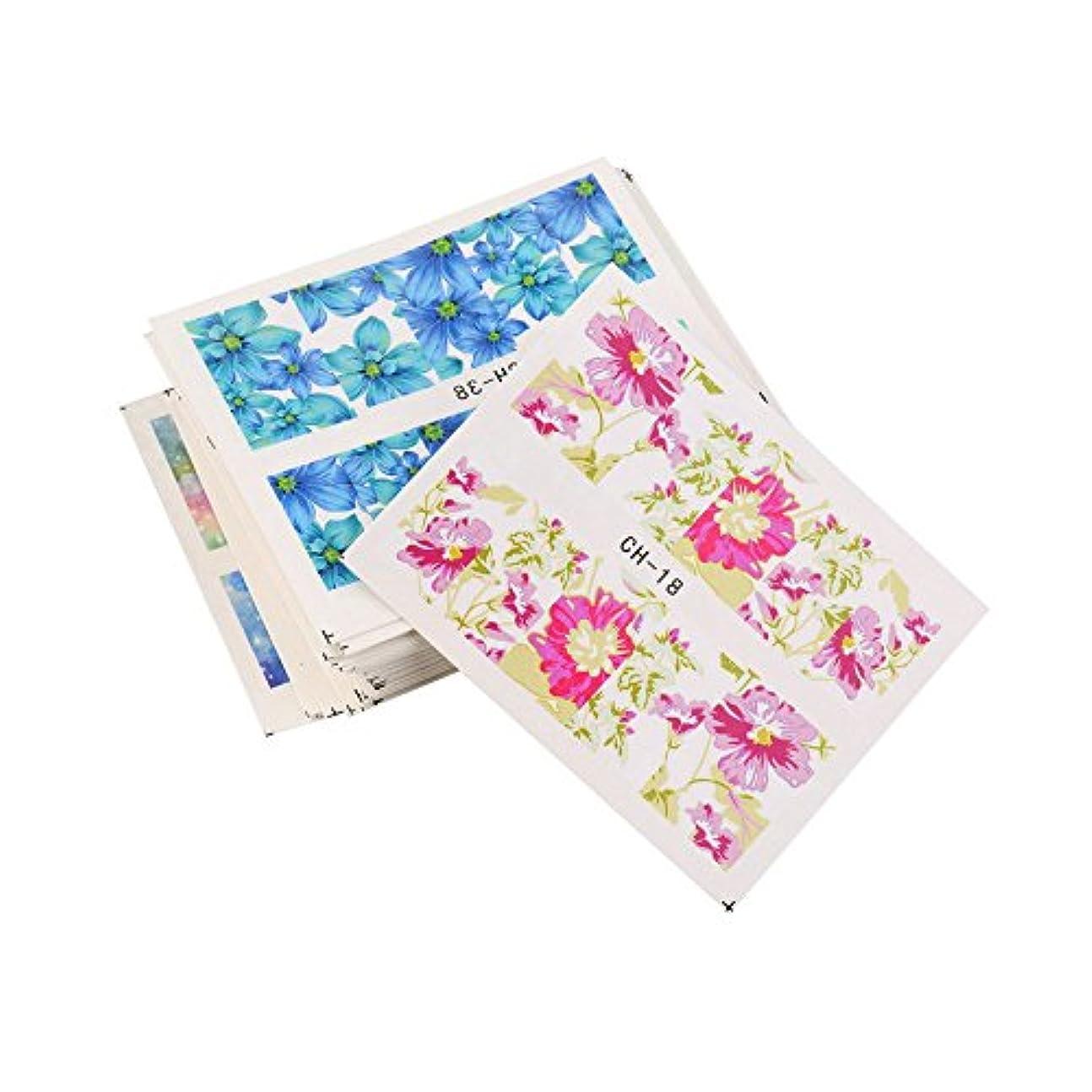 お風呂を持っているコンピューター芽ウォーターネイルシール 花柄 選べる50種類 極薄・重ね貼り
