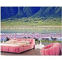 Mrlwy シマウマとフラミンゴの自然の風景の3D壁紙、リビングルームのテレビのソファの壁の寝室の壁画の群れ-120X100CM