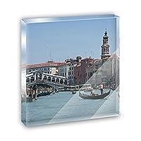 Rialto Bridge Venice ItalyアクリルOffice MiniデスクプラークオーナメントPaperweight