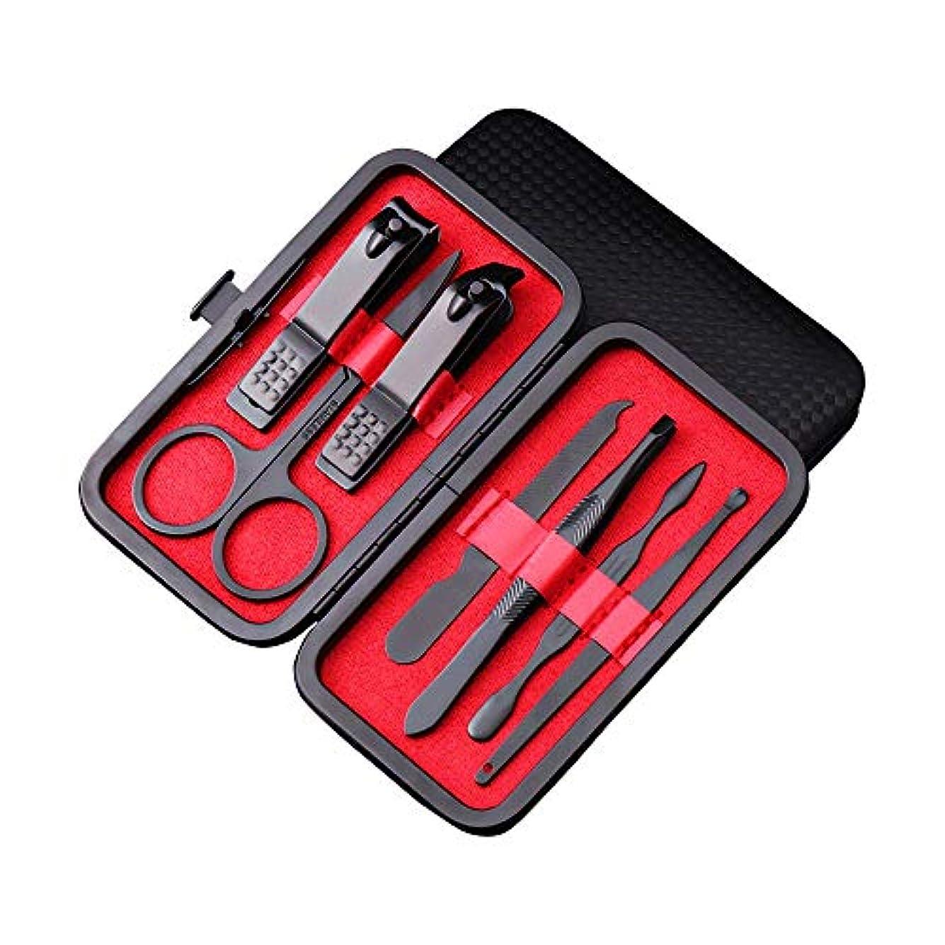 依存ルート動機付けるマニキュアネイルクリッパーセット-ブラックポータブル旅行衛生キットステンレススチールネイルカッターツールセット、レザートラベルケース付き、7個セット