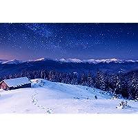 芸術はポスターを印刷します - 星空と木の家 - Canvas Art Print Poster - 60cmx40cm