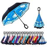 CarBoys 逆転傘 逆さ傘 逆折り式傘 自立傘 長傘 手離れC型手元 耐風 撥水加工 晴雨兼用 ビジネス用 車用 UVカット 遮光遮熱 傘袋/ケース付き(空の晴)