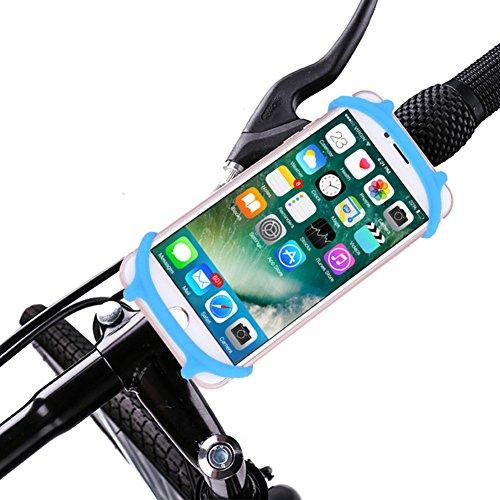 Mieda 自転車ホルダー スマホ 携帯 シリコン製 自転車/バイク用スタンド 多機種対応 (ブルー)