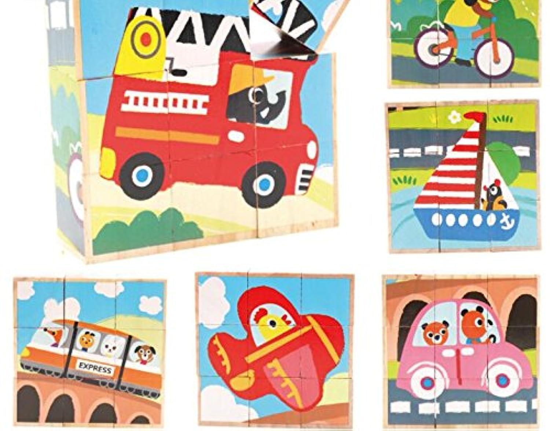 HuaQingPiJu-JP 創造的なデザイン木製の漫画のパズルアーリーラーニング番号の形の色の動物のおもちゃ子供のための素晴らしいギフト(交通)
