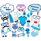 It's A Boy Baby Shower Party Photo Booth Props Kits on Sticks Set of 26pcs【クリスマス】【ツリー】 [並行輸入品]