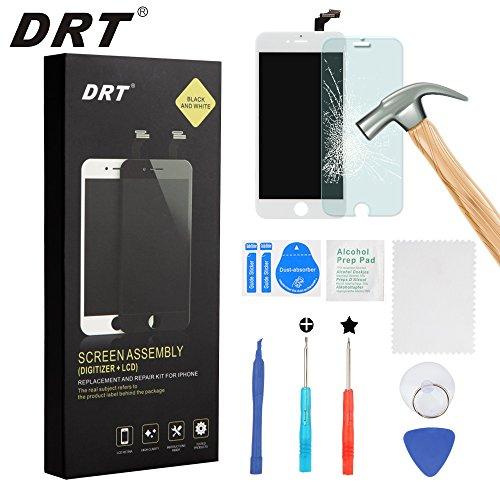 DRT iPhone 6 plus 5.5インチ交換修理用フロントパネル(フロントガラスデジタイザ)タッチパネル 液晶パネルセット 修理工具付属 (ブラック/ホワイト) (ホワイト)