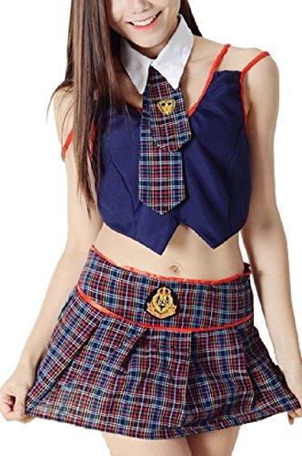 (R-Dream) セーラー服 コスチューム チェック柄 女子高生 制服 セクシー ミニスカ コスプレ ベビードール (網タイツ付き)